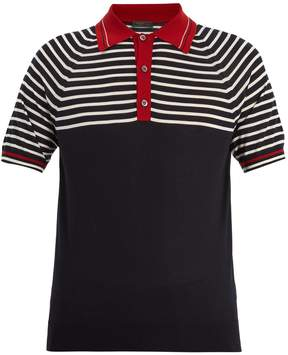 Prada Striped cashmere and wool-blend polo shirt