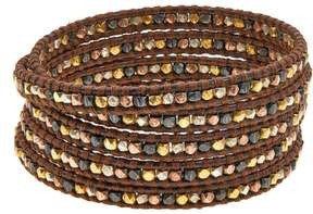Chan Luu Mixed Metal Bead Brown Leather Multi Wrap Bracelet