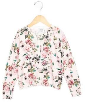 Armani Junior Girls' Jewel-Embellished Floral Print Cardigan w/ Tags