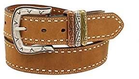 Ariat A1522802-S 1.5 in. Womens Laced Edge 3 Keepers Leather Belt, Brown - Small