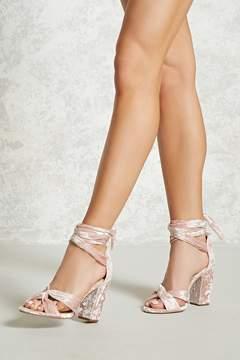 Forever 21 Knotted Crushed Velvet Heels