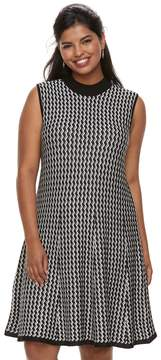 Candies Juniors' Plus Size Candie's Chevron A-Line Sweater Dress