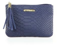 GiGi New York Python-Embossed Leather Zip Pouch
