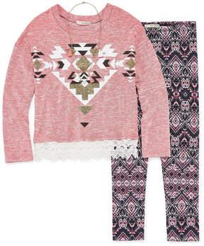 Self Esteem LS Crochet Hem Sweatshirt Legging Set with Necklace - Girls' 4-16 & Plus