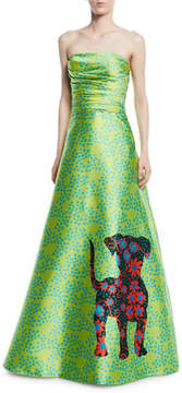 Theia Shisa Strapless Dog Dot Print Ball Gown