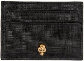 Alexander McQueen Black and Gold Lino Skull Card Holder