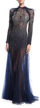 Jenny Packham Floral-Embellished Long-Sleeve Illusion Gown