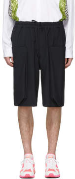 Comme des Garcons Navy Wool Layered Pockets Shorts