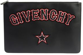 Givenchy Leather Iconic Large Clutch With Patched Logo