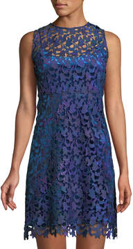 T Tahari Scalloped Lace Illusion Dress