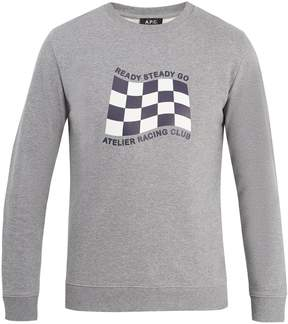 A.P.C. Racing flag-print cotton-jersey sweatshirt