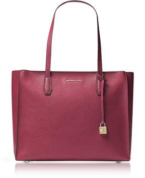 Michael Kors Mercer Large Mulberry Pebble Leather Top Zip Tote Bag - PURPLE - STYLE