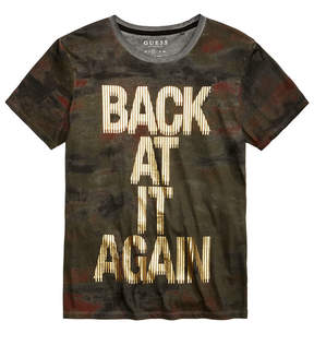 GUESS Men's Back At It Again Camouflage Metallic-Print T-Shirt