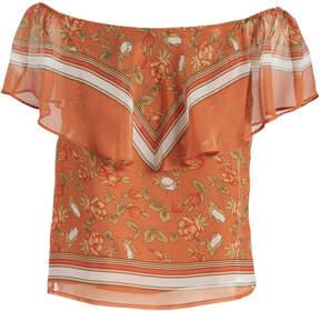 Lucy Paris Burnt Orange Floral Off-Shoulder Top - Women