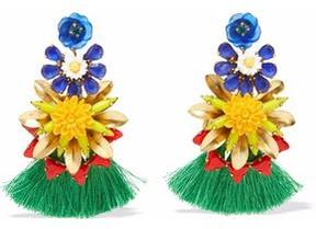 Elizabeth Cole 24-Karat Gold-Plated Stone Acrylic And Tassel Earrings