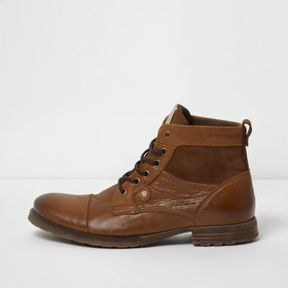 River Island Mens Tan leather and suede toe cap work boots