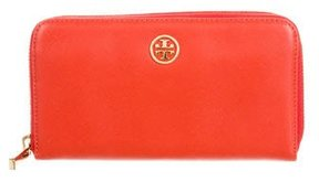 Tory Burch Leather Zip Wallet - ORANGE - STYLE