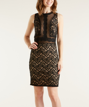 Bebe Black & Nude Lace Sheath Dress