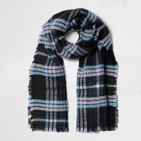 River Island Womens Purple and blue check blanket scarf