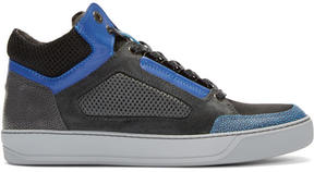 Lanvin Tricolor Leather and Mesh Mid-Top Sneakers