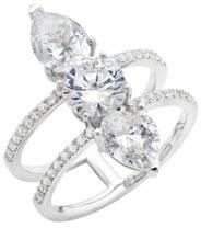 Crislu Luster Platinum finished Sterling Silver Three Stone Ring