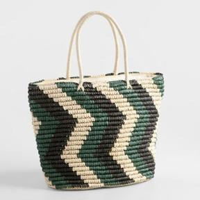 World Market Green and Black Straw Tote