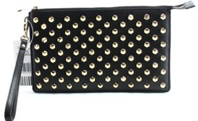 Michael Kors Daniela Faceted Stud Large Leather Wristlet (Black) - BLACKS - STYLE
