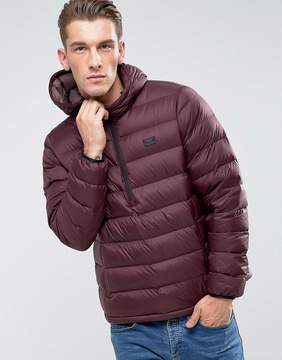 Abercrombie & Fitch Down Jacket Hooded Overhead in Burgundy