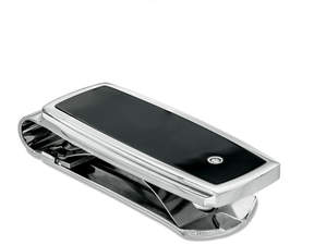 Zales Men's Diamond Accent Black Enameled Money Clip in Stainless Steel
