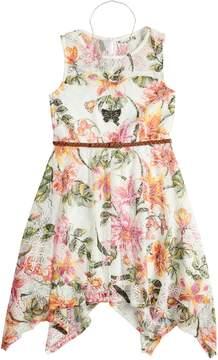 Knitworks Girls 7-16 Flower Sharkbite Belted Dress & Necklace Set