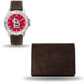 Rico MLB Team Logo Watch and Wallet Combo Gift Set in Brown - Cardinals