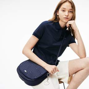 Lacoste Women's Daily Classic Graphic Print Pique Canvas Round Crossover Bag