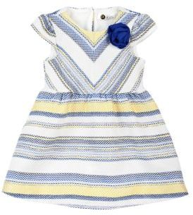 Petit Lem Baby's Santorini Crush 2-Piece Striped Jacquard Dress and Bloomers Set