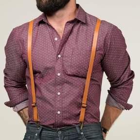 Blade + Blue Tan Leather Skinny Suspenders