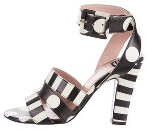 Moschino Leather Ankle Strap Sandals