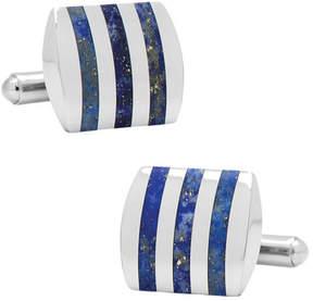 Ox & Bull Trading Co. Men's Stainless Steel Striped Lapis Cufflinks