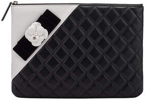 One Kings Lane Vintage Chanel Black & White Camellia Clutch - Vintage Lux