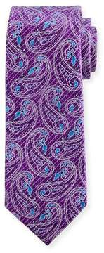 Ermenegildo Zegna Etched Paisley Silk Tie, Purple