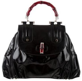 Gucci Dialux Pop Bamboo Satchel - BLACK - STYLE