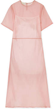 Mansur Gavriel Silk-tulle Midi Dress - Blush
