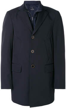 Fay single breasted coat with vest attachment