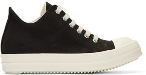 Rick Owens Black Canvas Cap Toe Sneakers