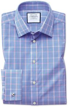 Charles Tyrwhitt Extra Slim Fit Prince Of Wales Check Blue Cotton Dress Shirt French Cuff Size 15/33