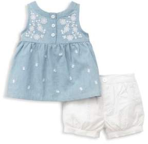 Little Me Baby Girl's Two-Piece Chambray Top and Eyelet Shorts Set