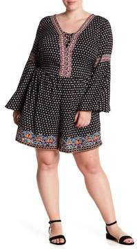 Angie Lattice Detail Bell Sleeve Dress (Plus Size)