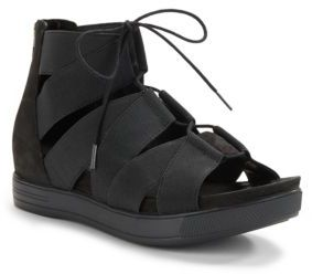 Eileen Fisher Link Stretchy Straps and Leather Lace-Up Sandals