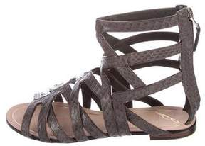 Brian Atwood Snakeskin Multistrap Sandals