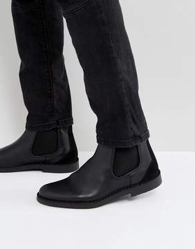 Selected Royce Leather Chelsea Boots In Black