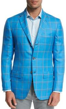 Kiton Large Plaid Three-Button Sport Coat, Blue
