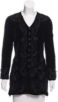 Carmen Marc Valvo Embellished Velvet Jacket